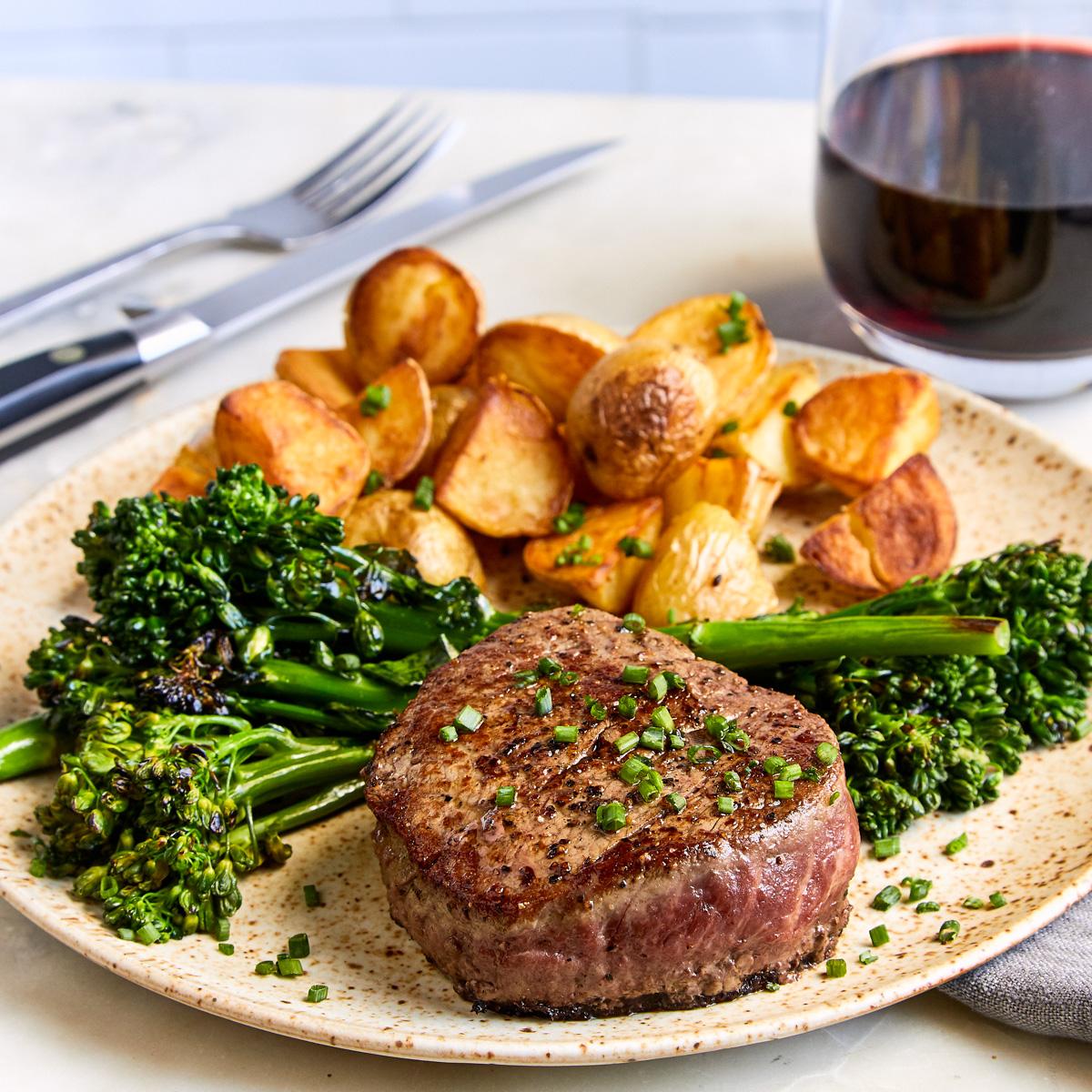 Filet Mignon, Potatoes, and Baby Broccoli - Serves 2 — Brava | Brava Home